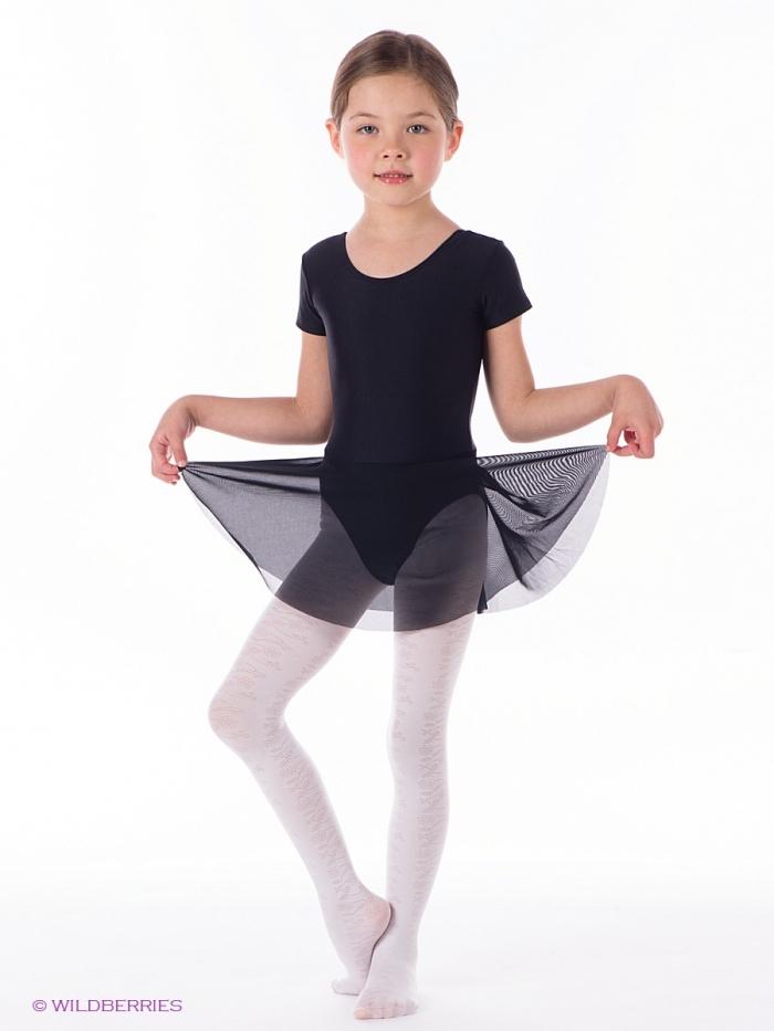 Гимнастический купальник для девочки с юбкой черный